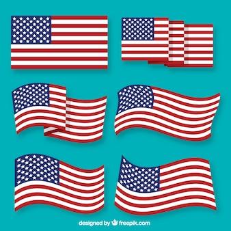 Variété de drapeaux américains en conception plate