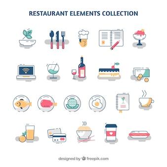 Variété d'éléments du restaurant avec un design plat