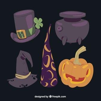 Variété d'éléments magiques de halloween