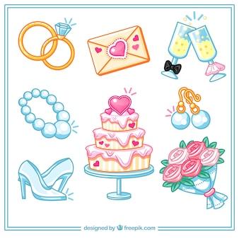 Variété d'éléments de mariage en conception plate