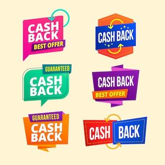 Variété d'étiquettes de cashback