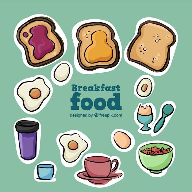 Variété d'étiquettes de petits déjeuners dessinés à la main