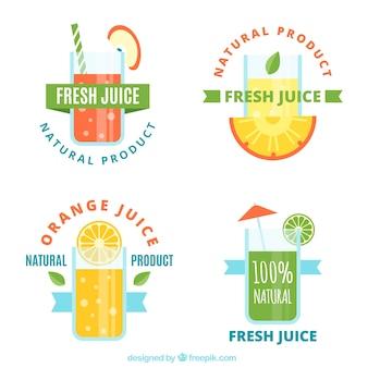 Variété d'étiquettes plates avec différents jus de fruits