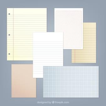 Variété de feuilles de bloc-notes