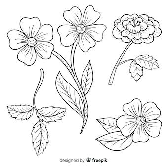 Variété de fleurs rétro dessiné à la main