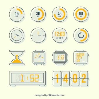 Variété des icônes d'horloge