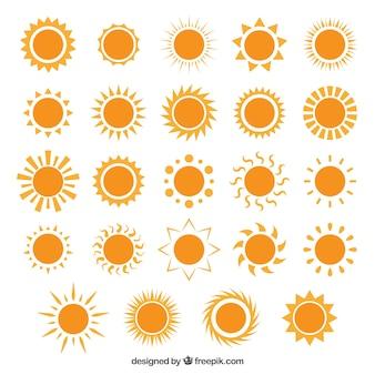 Variété des icônes de soleil