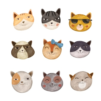 Variété d'illustration de chat mignon