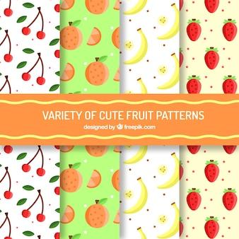 Variété de jolis motifs de fruits