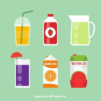 Variété de jus de fruits savoureux avec différents récipients