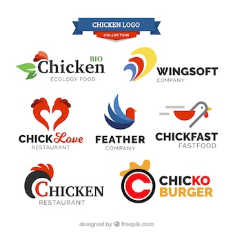 Une variété de logos de poulet avec de superbes dessins