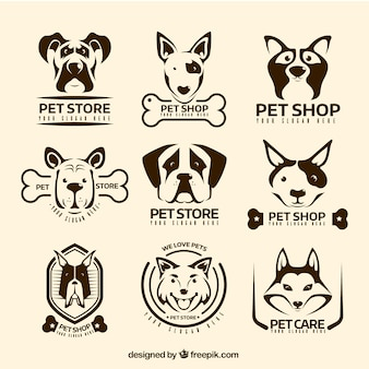 Variété de logos vintage avec les chiens décoratifs