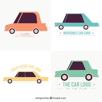 Variété de logos avec des voitures de couleur dans design plat