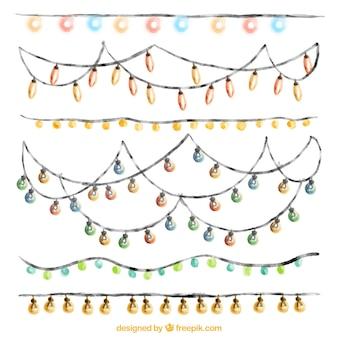 Variété de lumières chaîne d'aquarelle