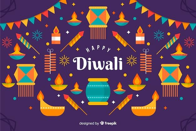 Variété de lumières colorées fond plat de diwali
