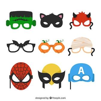 Variété de masques d'halloween