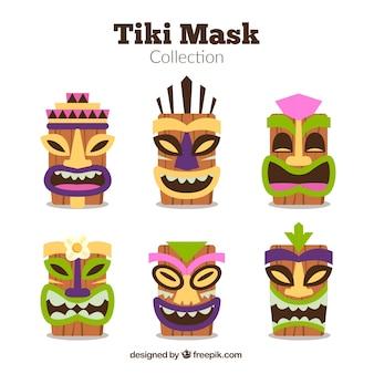 Une variété de masques hawaïens avec un design plat