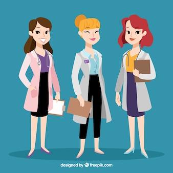Une variété de médecins féminins