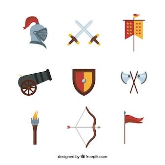 Variété médiévale d'éléments chevaliers