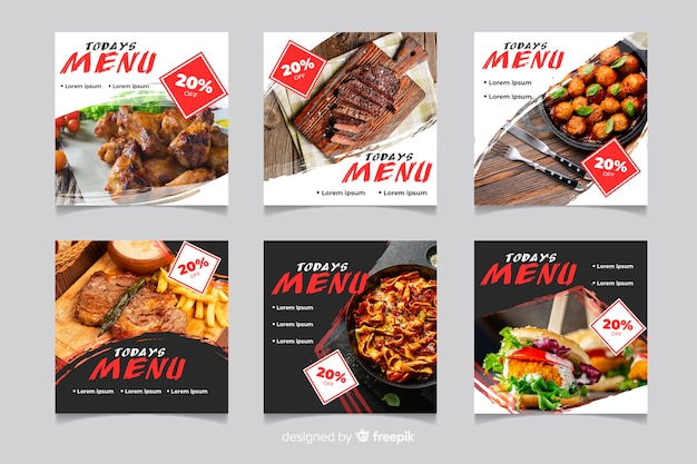 Variété de menus de viande instagram post collection