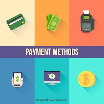 Variété de méthodes de paiement avec un design plat