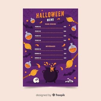 Variété de modèle de menu de décoration halloween