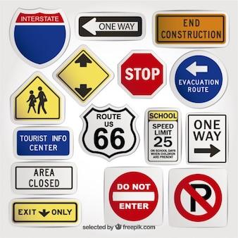 Variété de panneaux de signalisation