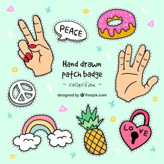 Variété de patches dessinés à la main