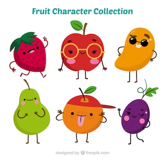 Variété de personnages de fruits fantastiques