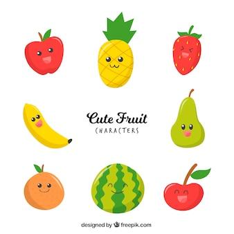 Variété de personnages de fruits mignons