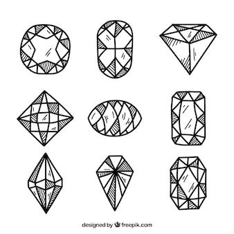 Variété de pierres précieuses dessinées à la main
