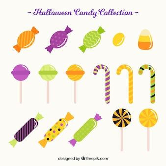 Variété plate de bonbons colorés