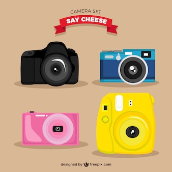 Variété de rétro caméras colorées