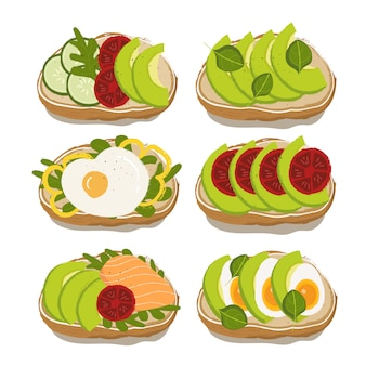 Variété de sandwichs pour une alimentation saine avec avocat, tomate, œuf, saumon, basilic et concombre
