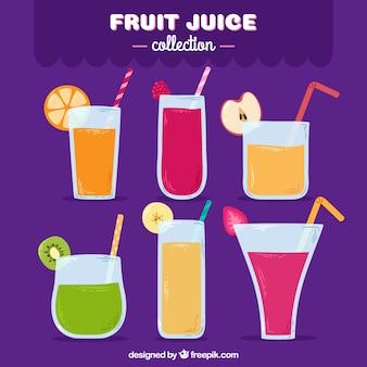 Variété de six jus de fruits en style dessiné à la main