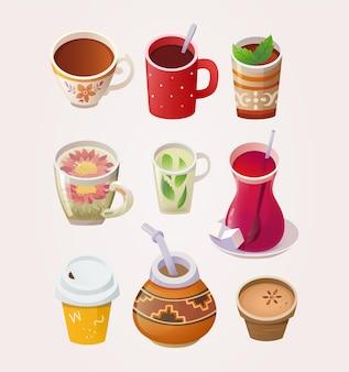 Variété de tasses et verres à thé de différents pays et lieux