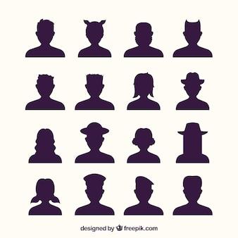 Variété variée d'avatars de silhouette