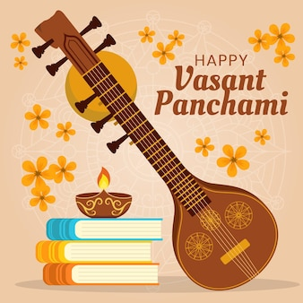 Vasant panchami au design plat