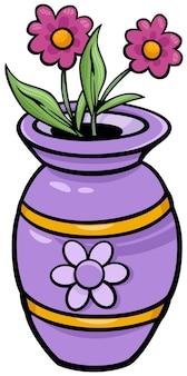 Vase avec des fleurs clip art illustration de dessin animé