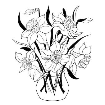 Vase de fleurs de narcisse pot de fleurs de jonquille bouquet de printemps isolé