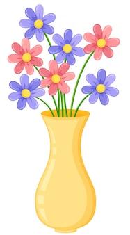 Vase jaune avec des fleurs violettes et roses
