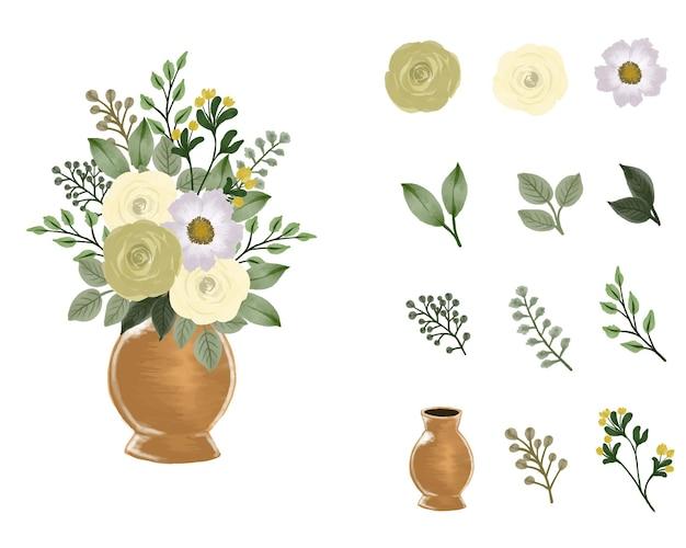 Vase en or avec arrangement de bouquet de roses jaunes