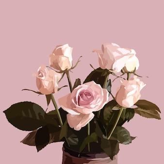 Vase avec des roses. illustration de mode vectorielle
