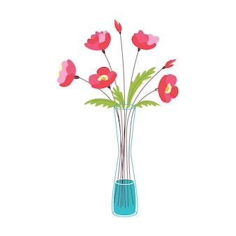 Vase en verre fleurs rouges