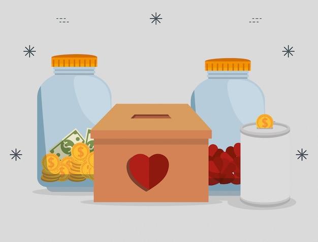 Vases avec de l'argent pour un don de charité