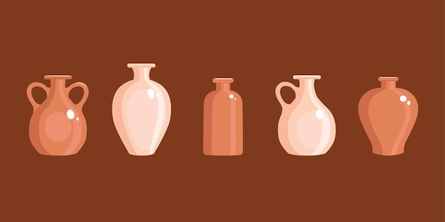 Vases en argile sertis dans un style plat. cruche antique. illustration vectorielle.
