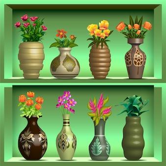 Vases sur étagère