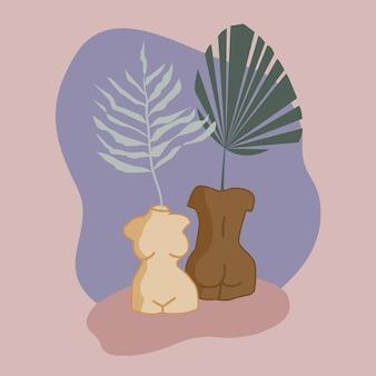 Vases en forme de corps féminins avec des feuilles tropicales illustration vectorielle