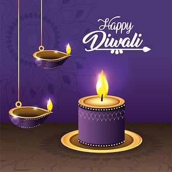Vasseaux de diwali et lits de bougies avec mandala