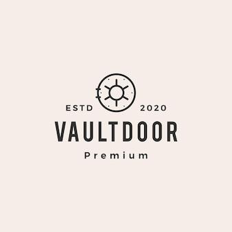 Vault porte hipster logo vintage vector icône illustration